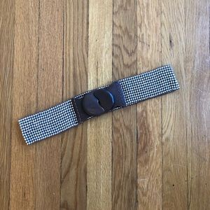 Sequined Waistband Belt with Wooden Clasp - OS
